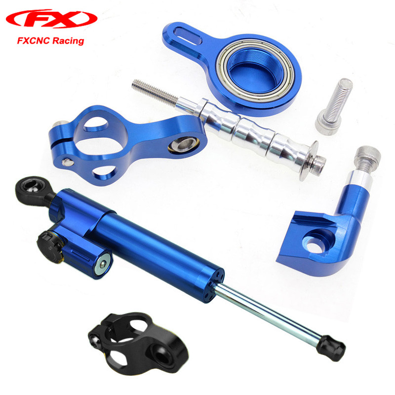 FXCNC Motorcycle Steering Stabilizer Damper with Mounting Brackets Safety Control Reversed for Yamaha YZF R1 1998 1999 2000 2001 fxcnc aluminum motorcycle steering stabilizer damper mounting bracket support kit for yamaha fz1 fazer 2006 2015 2007 2008 09