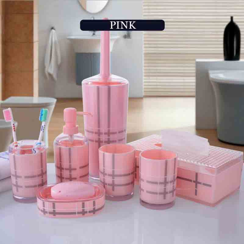 england style simple lattice bathroom accessories set 7pcs quality acrylic banheiro wash kit 3 colors available