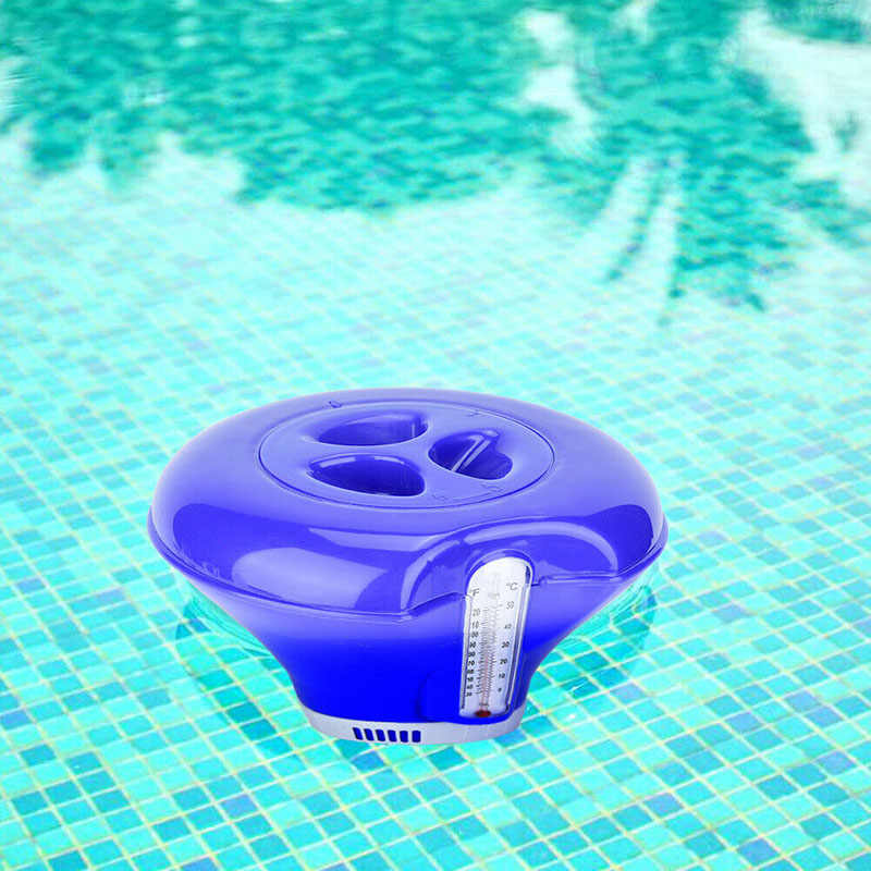 Swimming Pool Hot Spring Floating Applicator with Thermometer 8 Inch Chemical Chlorine Dispenser Cleaner YA88