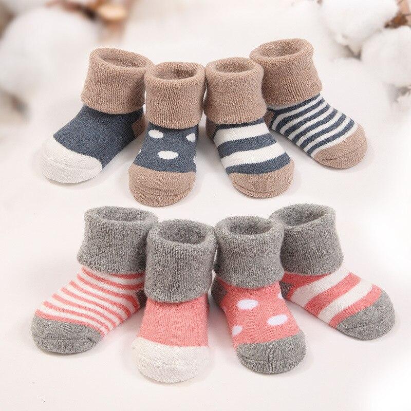 4pairs/lot Warm Winter Baby Socks Cute Soft Autumn Newborn Baby Girls Socks Stripes & Dots Infant Soft Baby Boy Shoe Socks