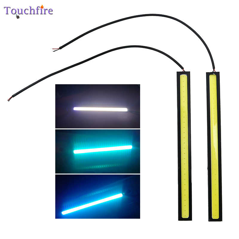 2pcs 17cm Universal Waterproof Daytime Running lights COB DRL LED Car lamp External Strip 12V Lights Fog Lamp Car Styling DRL