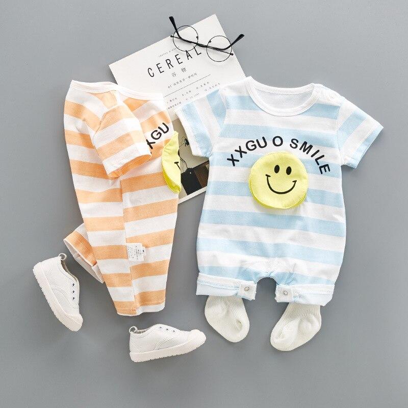 VERATI Childrens Onesie 2018 new summer 3D smiley Striped Baby Boys romper Cotton newborn short-sleeved Soft Overalls V067