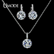UMODE White Gold Color Hearts Arrows AAA CZ Pendant Necklace Earrings Set For Women Fashion Jewelry