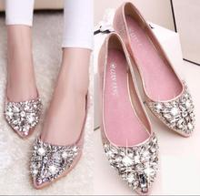 Shoes Woman 2016 New brand Women's Flat Shoes PU leather ladies sandals Rhinestone pointed toe Flats single shoes Zapatos Mujer