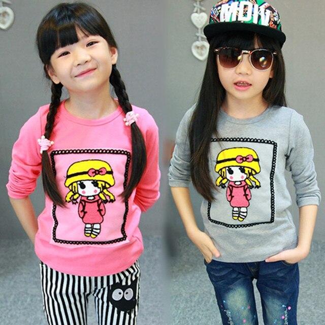 Brand girls Cotton Fabric Fashion t shirts Embroidery children clothing Tracksuit baby  Full Sleeve tops sweatshirt bobo choses