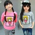 Marca meninas Tecido de Algodão Moda t camisas Bordados crianças roupas Treino bebê Completo Manga tops camisola bobo choses