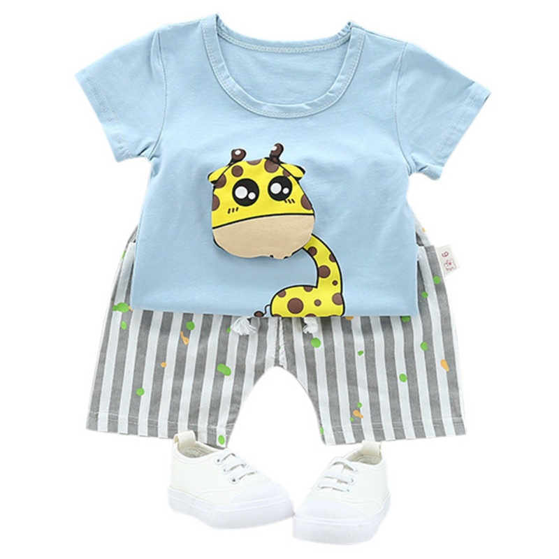 Cute Cartoon Pattern Clothing Set Summer Baby Boy Girl Short-Sleeved + Shorts Suit Fashion Newborn Clothes