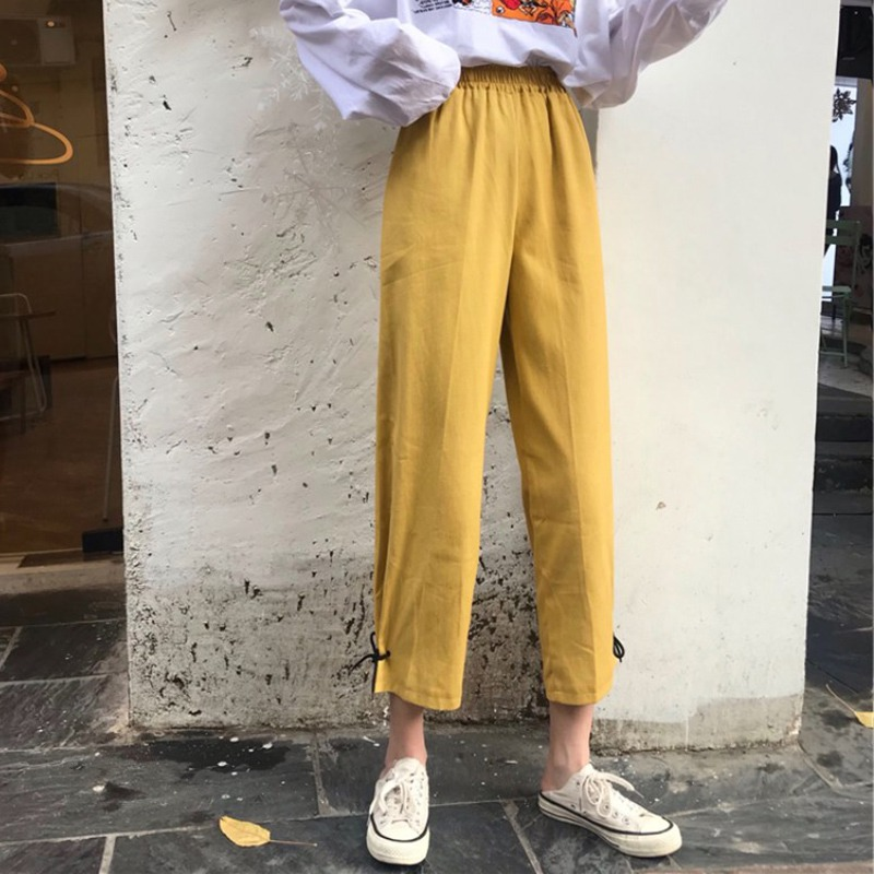 Fashion Ladies Lace Up   Wide     Leg     Pants   Elastic High Waist Women   Pants   Casual Loose Straight Trousers