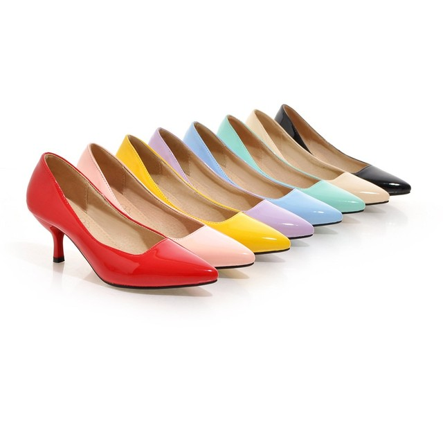 New Hot 8 Color Glossy Women Nude Formal Pumps Big Size 12 30 48 Yellow Blue Red Green Med Heels Sexy Lady Wedding Shoes AH051