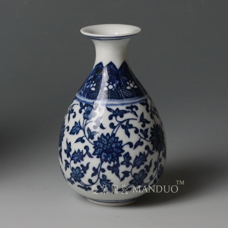 Mavi və ağ keramika bəzəkli vaza rəf bəzəyi klassik mavi və - Ev dekoru - Fotoqrafiya 1