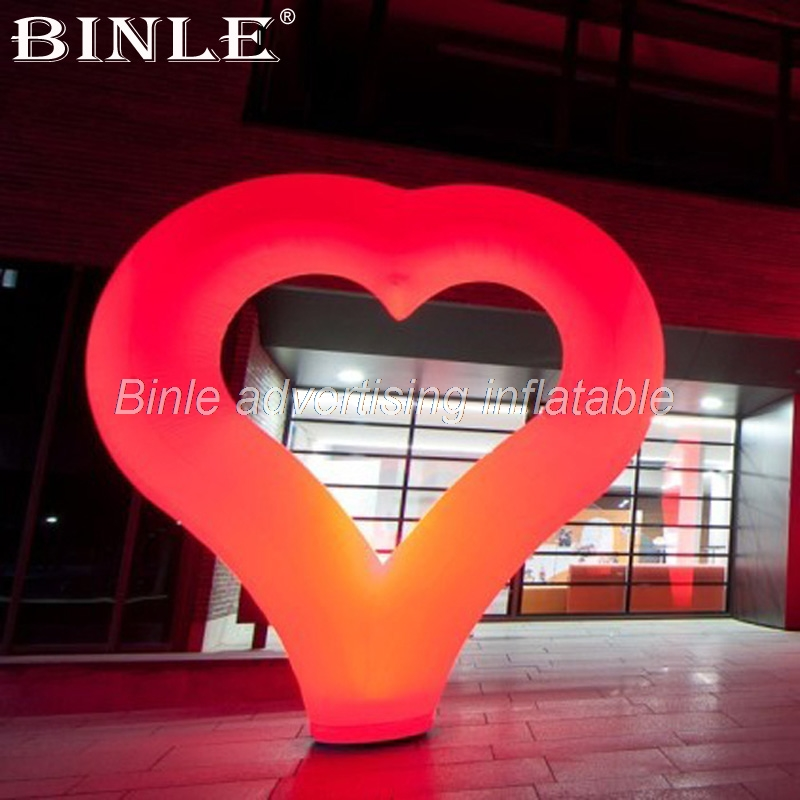 Free shipping 2.4mH Valentines day themed event decoration event large inflatable heart with colorful led lights for saleFree shipping 2.4mH Valentines day themed event decoration event large inflatable heart with colorful led lights for sale