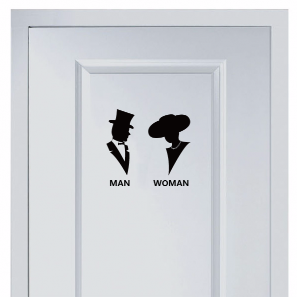 Silhouette Marks For Men And Women S Vinyl Toilet Sticker