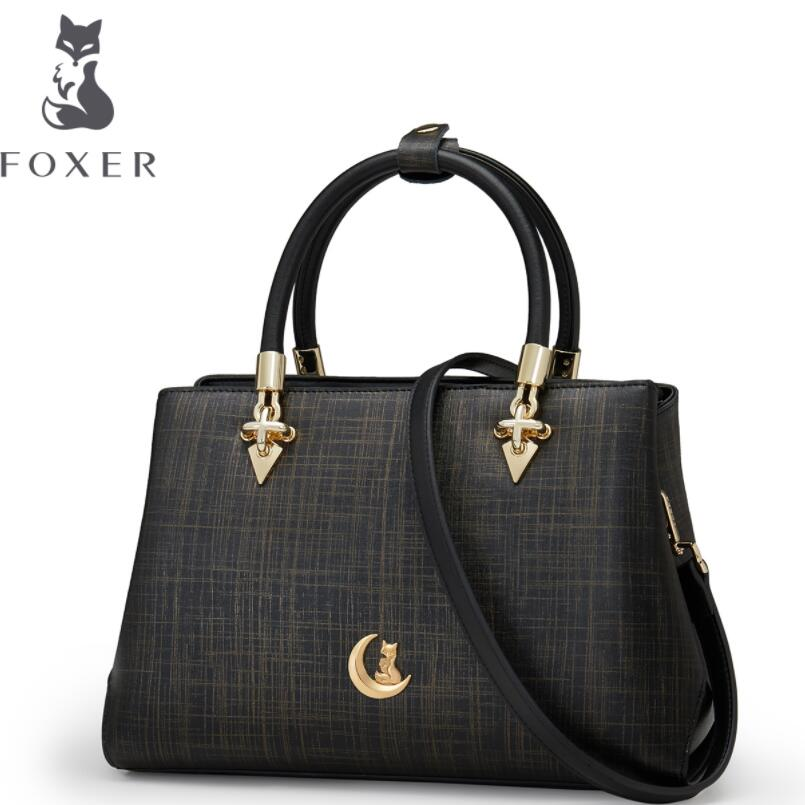 FOXER 2017 new brand women leather bag fashion wild tote women leather handbags shoulder bag quality cowhide Commuter bag