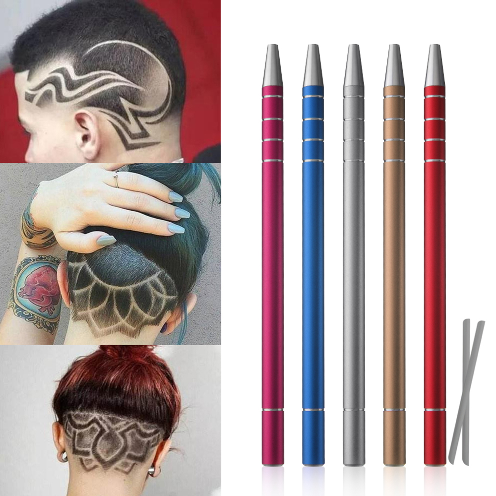 1Pcs Hairstyle Engraved Pen+10Pcs Blades Professional Hair Trimmers Hair Styling Eyebrows Shaving Salon DIY Hairstyle Accessory
