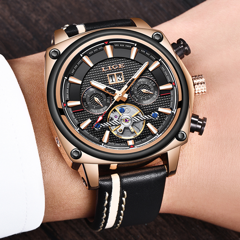 LIGE Top Brand Luxury Men Mechanical Watches Fashion Casual Sport Military Watch Men Waterproof Tourbillon Watch Relojes HombreLIGE Top Brand Luxury Men Mechanical Watches Fashion Casual Sport Military Watch Men Waterproof Tourbillon Watch Relojes Hombre