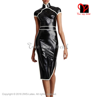 Sexy Black and white trims Long Latex cheongsam dress Chinese style Rubber gown Sleeveess Playsuit Bodycon plus size XXXL QZ 108