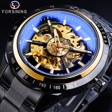 Forsining Classic Mens Mechanical Watch Automatic Black Skeleton Racing Design Sports Watches Full Steel Band Wristwatch Relogio