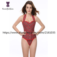 841# hot sales wholesale price red color halter corset plaid style bustiers and corests for busty women