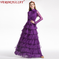 Vintage Long Dresses 2018 Spring Women Fashion Lace Flowers Embroidery Ruffles Hollow Out Purple Runway Mesh Dress