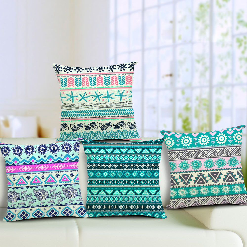Xkm Home Decor Waves Plaid Cotton Waist Throw Pillow Case Sofa Back Cushion Square Cover Decoration 45 Cm X In From