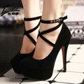 2017 Mulheres Sexy Sapatos de Salto Alto Bombas de Sapatos de Plataforma Senhoras Cunha Sapatos de Casamento Mulher Preto azul Saltos Altos Extremas