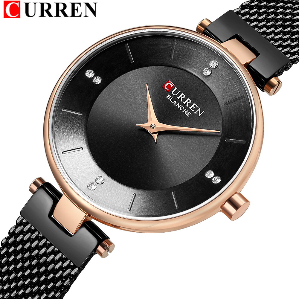 Classic Black Ladies Watches With Rhinestone Women's Fashion Steel Mesh Watch CURREN Female Wristwatch Dress Quartz Clock Gift