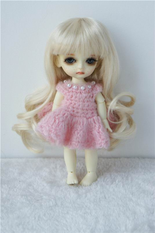JD148 1/8 Cute Lati yellow curly BJD synthetic mohair doll wigs size 5-6 inch doll wig on sale jd145 msd synthetic mohair doll wigs 7 8inch long curly bjd hair 1 4 doll accessories