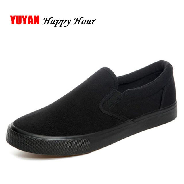 3f2c8d1f5 New Arrival Fashion Shoes for Men All Black Canvas Shoes Men's Casual Shoes  Male Brand Loafers Black White Shoes Big Size K025-in Men's Casual Shoes  from ...