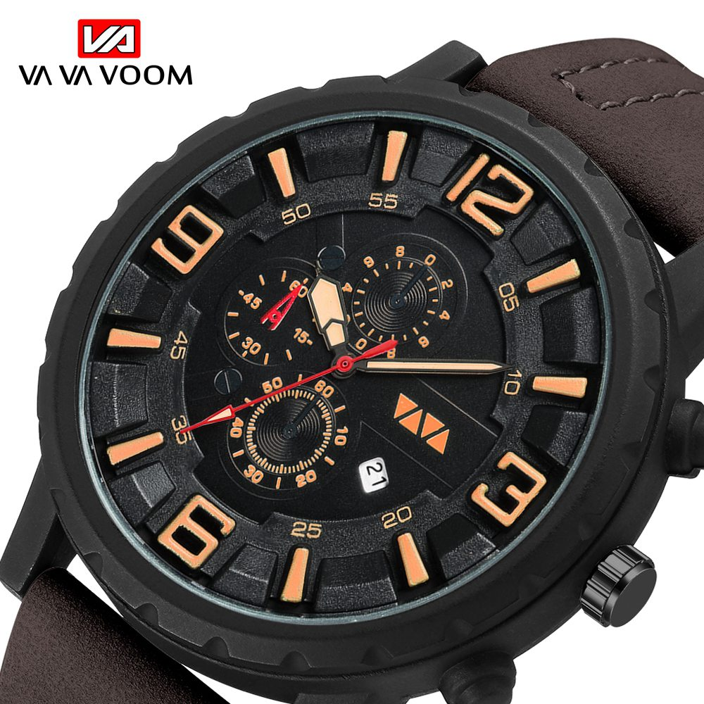 Military Watch Men 2019 New Mens Watches Top Brand Luxury Quartz Watch Casual Leather Sports Waterproof Clock Relogio Masculino