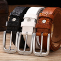 New Fashion Genuine Leather Casual Belt For Women Printed Of Flower Color Brown Pin Buckle Plus long 130cm Hot sale