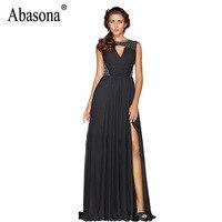 Abasona Women Black Long Dresses Sexy Cut Out Evening Party Sequins Dress Elegant Ladies High Split