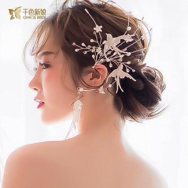 クリスタル鳥耳かけデュアル使用側の装飾スーパー妖精パーティー髪の宝石女性のための