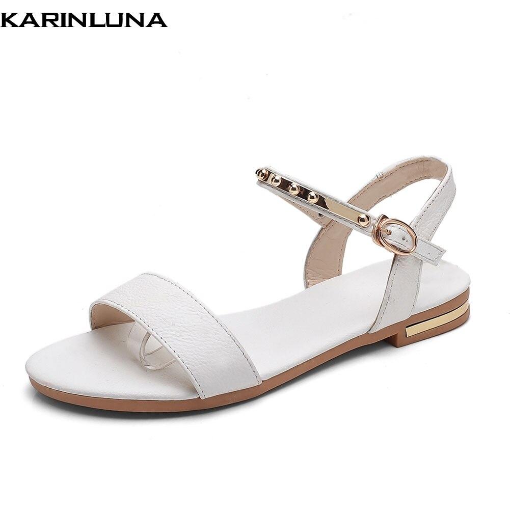 31 Karinluna Bout Cuir 46 La blanc Taille D'été En Mode De Chaussures Boucle Femmes 2018 Ouvert Sangle Plus À champagne Noir Vache Sandales Femme aXwq0aTr