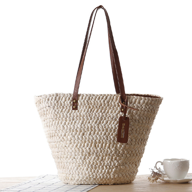 5859382fb8 Casual Style Women Large Capacity Tote Corn Husk Leather Straps Straw  Handmade Woven Handbag Factory Outlet Dropshipping