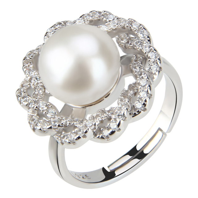 CLUCI Fashion Beautiful Flower Ring For Elegant Women Adjustable Wedding Rings Jewelry Pearl
