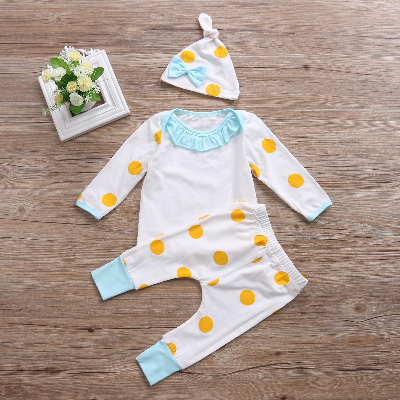 3PCS T shirt +Hat+Pants Baby Girls Clothing Set Cute Polka Dot Toddler Jumpsuit Infant Cotton Long Sleeve Kids Autumn Clothes