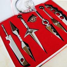 7 Pcs NARUTO Mini Metal Weapons Model Hatake Kakashi Deidara Kunai Shuriken Sword Kunai Knife Set Cosplay Toys Collections Gift