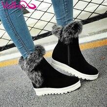 VALLKIN 2016 Fashion Warm Fur Winter Shoes Women Scrub Snow Boots Wedge Med Heel Ankle Boots Women Short Plush Boot Size 34-43