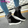 Vallkin 2016 moda zapatos de las mujeres friegan botas de nieve caliente invierno de la piel cuña de Tacón Med Botines Mujeres Botas de Felpa Corta Tamaño 34-43