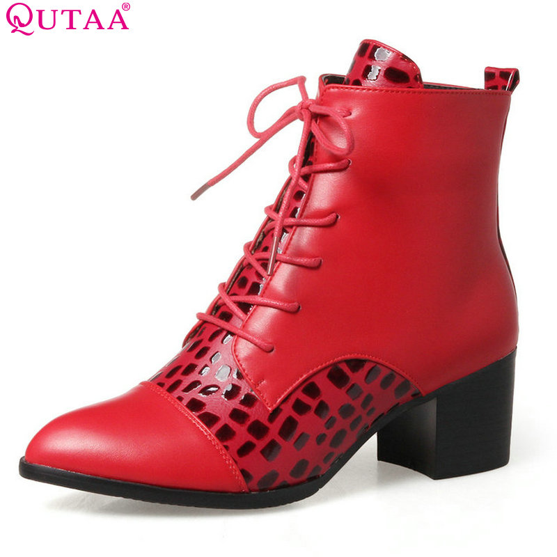 QUTAA 2018 Women Ankle Boots Lace Up Pointed Toe Sloid Microfiber Square High Heel Red Winter Ladies Ankle Boots Size 33-43