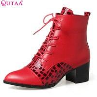 Qutaa 2018 المرأة الكاحل الحذاء حتى أشار تو sloid ستوكات ساحة الشتاء السيدات الكاحل أحذية عالية الكعب الأحمر الحجم 33-43