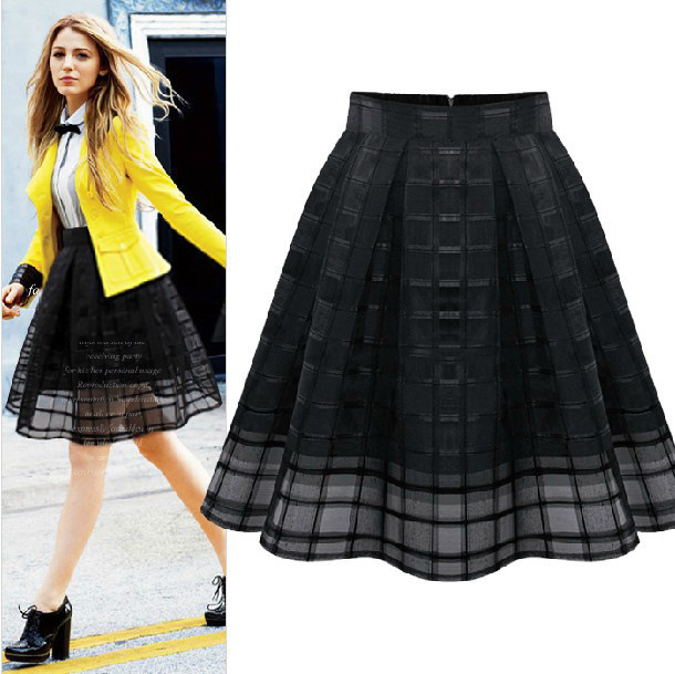 2015 Women Organza Grid Skirt Girl Casual font b Tartan b font Pleated Short Skirt