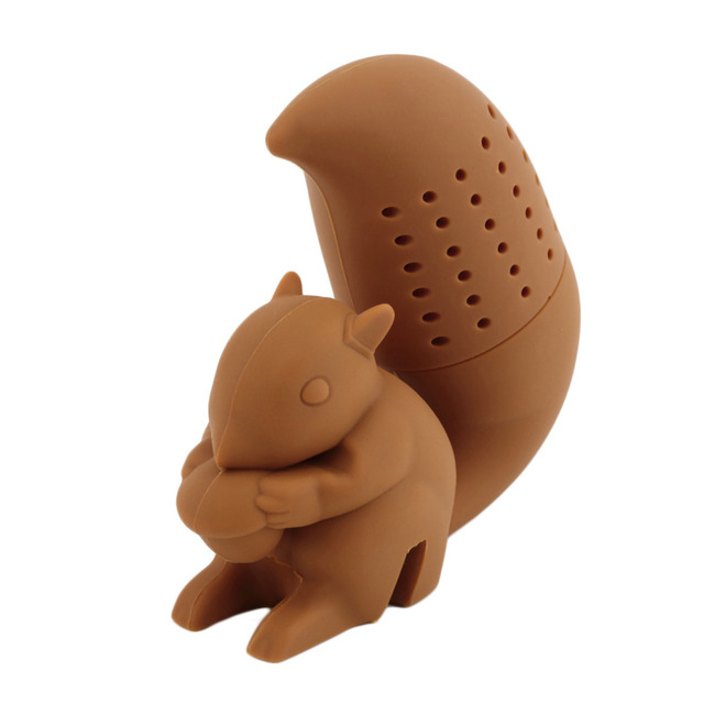 Silicone Filter Diffuser Squirrel Shape Tea Infuser Loose Leaf Strainer Bag Mug Filter Friends Applied