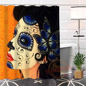 Shunqian Shower Curtain Waterproof Polyester Bath Curtains
