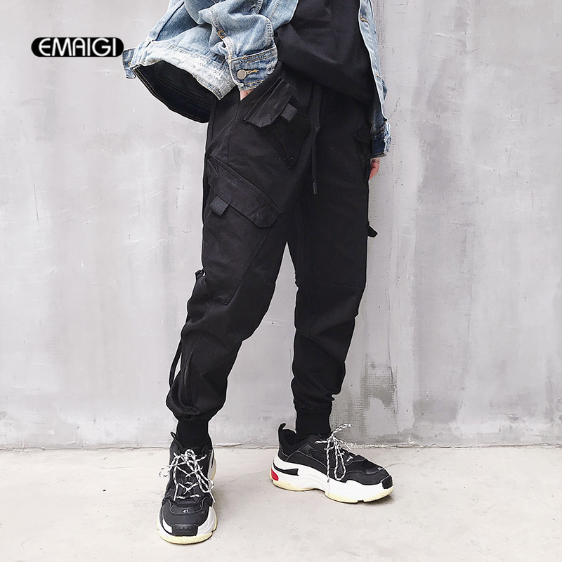 Men High Street Fashion Hip Hop Elastic Waist Casual Cargo Pant Women Male Loose Harem Pant Jogger Trousers Sweatpants