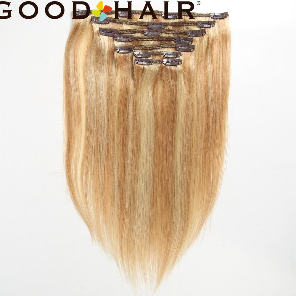GOOD HAIR Clip In Human Hair Extensions 120G Brazilian Straight Machine Made Remy Clip Ins Hair 7Pcs/Set Full Head Set #P8/613