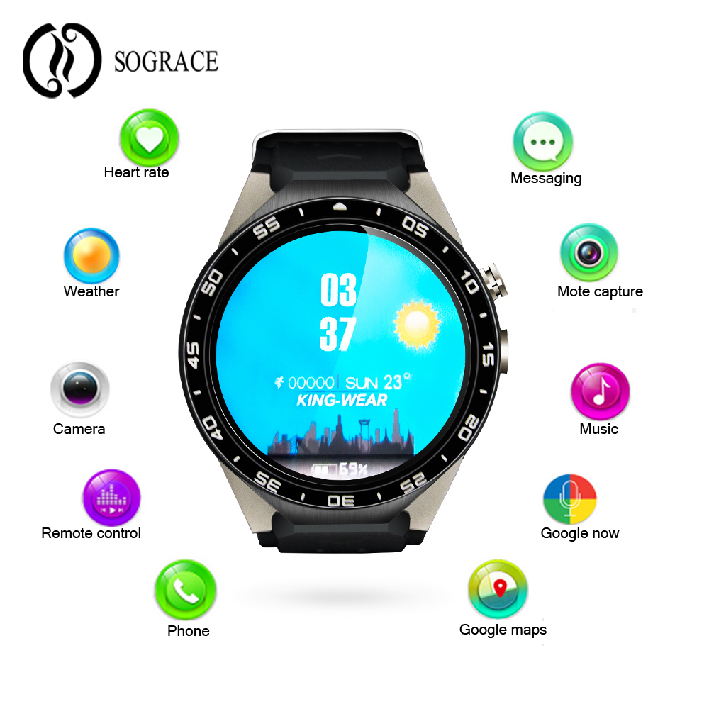 Sograce Smart watches 3G WIFI GPS Bluetooth Smart Watch New Android 5.1 MTK6580 CPU 1.39 inch 2.0MP Camera Heart Rate Smartwatch sograce smart watches 2018 kw88 heart rate tracker android smart watch music phone camera smart watch 35