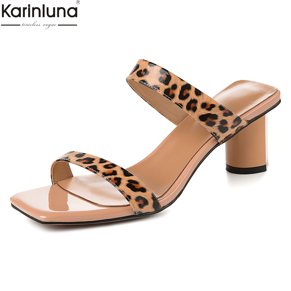 Women Shoes Big Size 42 Genuine Leather Fashion Sexy Leopard Party Summer Sandals Shoes Woman Mules