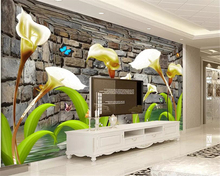 Beibehang Photo wallpaper Calla lily flower butterfly goldfish Brick wall stereo TV background painting 3d mural