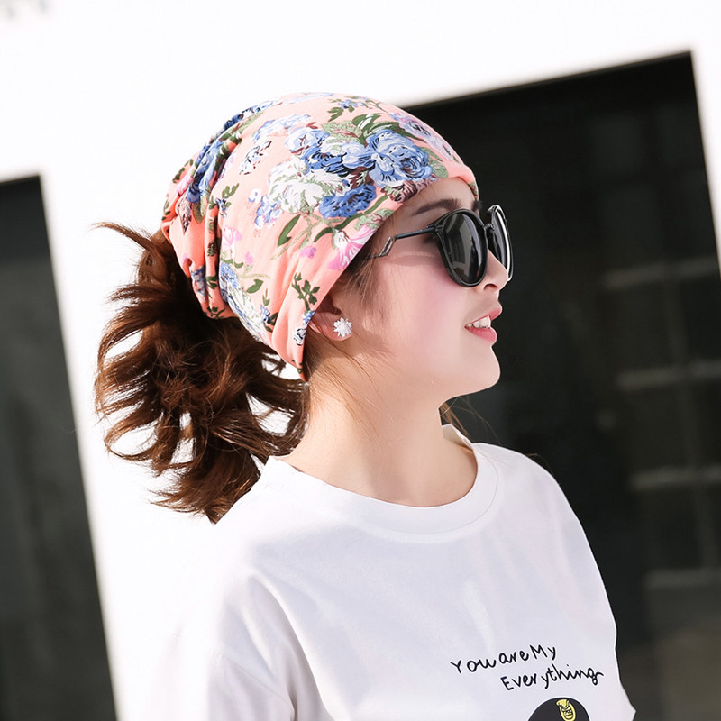 f92cf0884c21d 100% Cotton Ladies Flower Printed Tube Hat Multi-function Girls Headwear  Spring Fall Floral Pattern Turbante Fashion Turban
